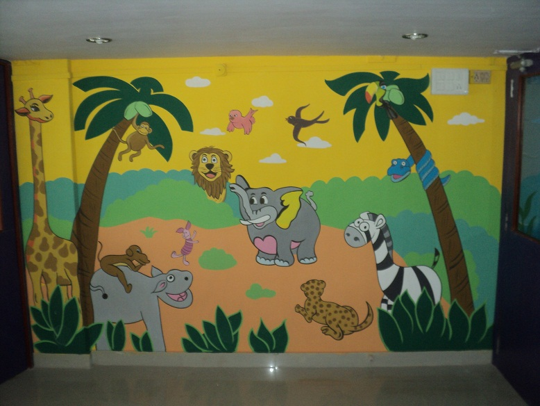 School kids classroom wall art work borivali mira road for Classroom wall mural ideas