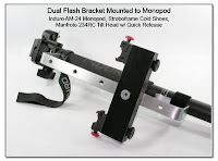 Dual Flash Bracket Mounted to Monopod - Induro AM-24, Stroboframe Cold Shoes, Manfroto 234RC Tilt Head with Quick Release