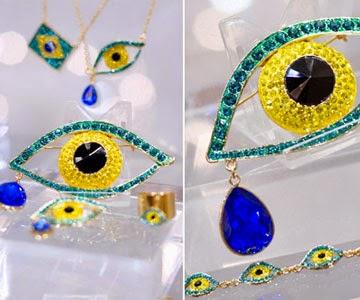 coleção joias Brazilian Eyes olhos Brasil pulseiras anéis brincos colares com as cores bandeira Brasil