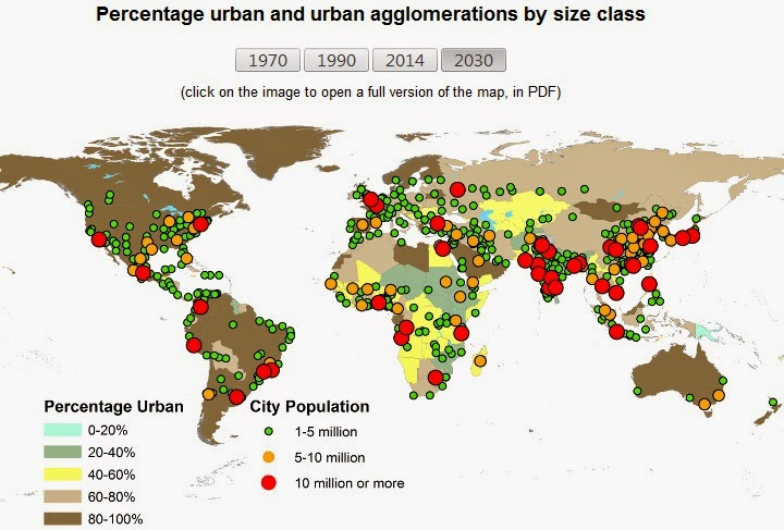Map of the week the worlds megacities the smaller circle sizes create less drama but the map still effectively tells the same story gumiabroncs Choice Image