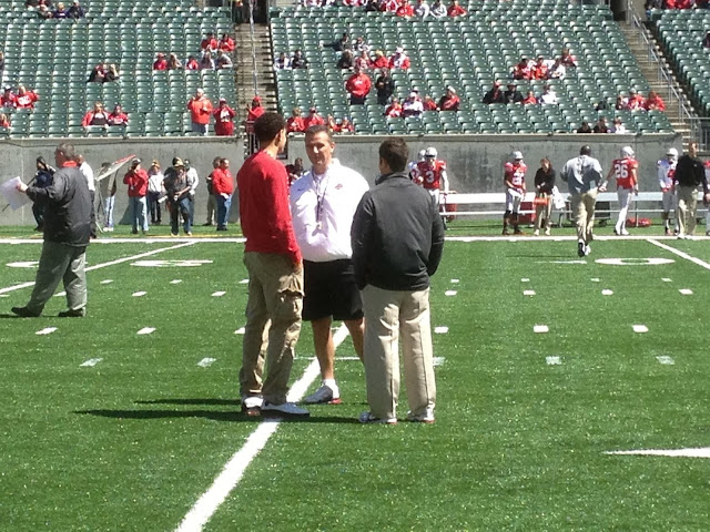2014 WR Derek Kief speaking with Urban Meyer prior to the OSU Spring Game at Paul Brown Stadium 