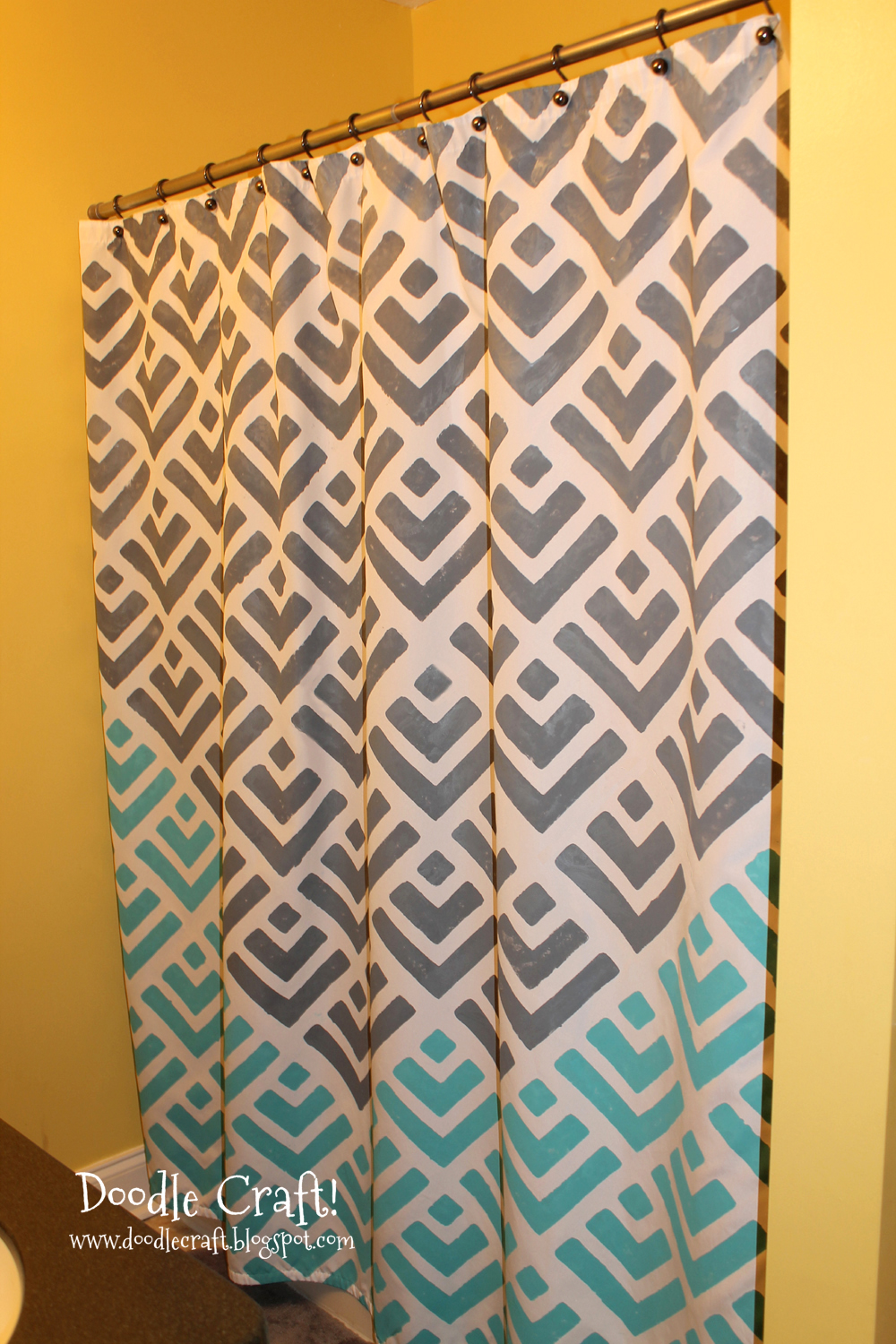 I was thrilled when I was offered to review a stencil from  Cutting Edge  Stencils Doodlecraft  Stencil a Shower Curtain with Cutting Edge Stencils  . Yellow And Teal Shower Curtain. Home Design Ideas