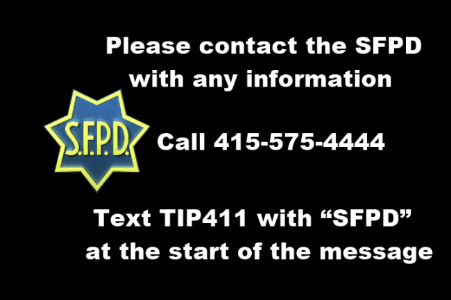 The San Francisco Police Department's telephone number and contact info.