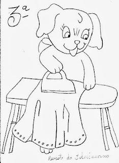 desenho cachorrinho passando roupa
