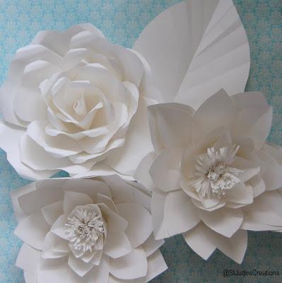 window display store paper flowers