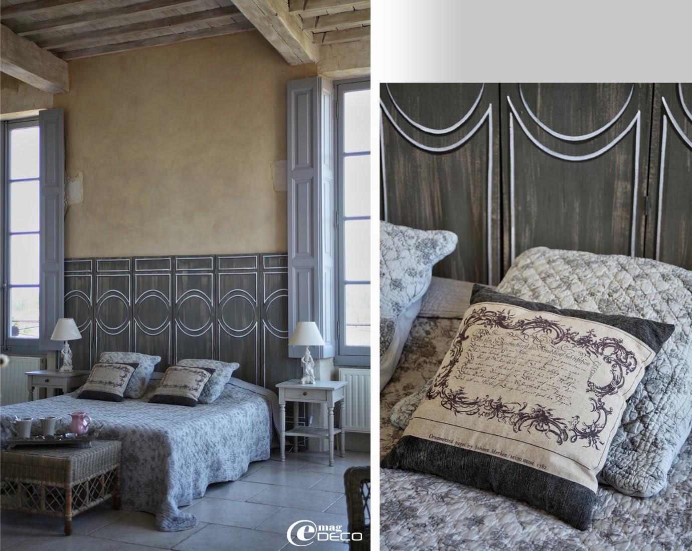 Dessus de lit et coussins Pomax, tête de lit réalisée avec des paravents