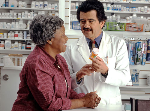 pharmacist explaining prescription