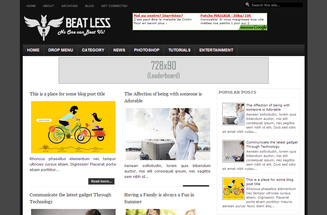 Free Download Beat Less Responsive Blogger Template 2014