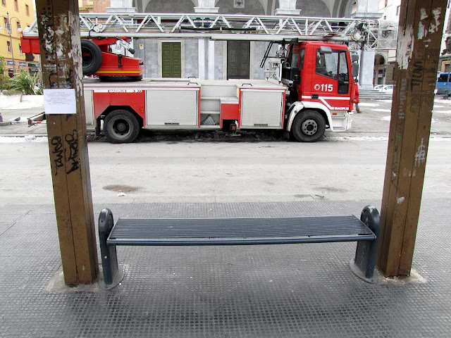 Bench with fire truck, piazza Grande, Livorno