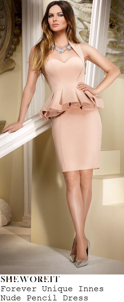 lucy-mecklenburgh-nude-peach-pink-sleeveless-faux-halter-sweetheart-neckline-peplum-pencil-dress