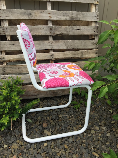 Side view of metal front porch chair from roaside rescue