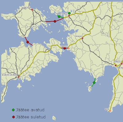 statut des routes de glace sur mnt.ee
