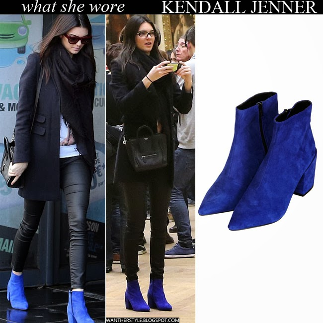 Kendall Jenner in blue suede ankle boots from Topshop Want Her Style