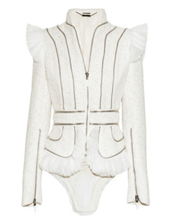 McQueen White Jacket Gold Fashion