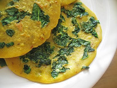 Chickpea Flour (Besan) Crepes with Spinach