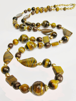 Tiger's Eye necklace with large multi shape beads