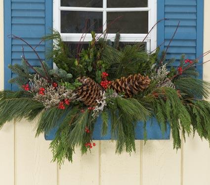 christmas winter window boxes - Christmas Window Box Ideas