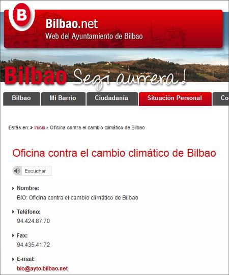 Captura de la página del Ayuntamiento de Bilbao