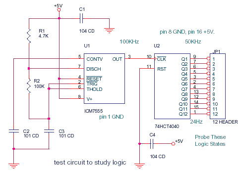 ELECTRONIC CIRCUIT: Frequency Divider by LM555 and 4040