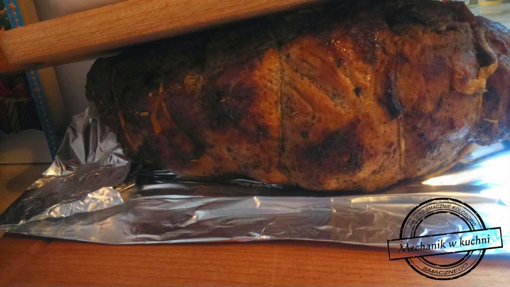 Pieczeń z karkówki w sosie warzywnym obiad Boże Narodzenie rodzinny Mechanik w kuchni