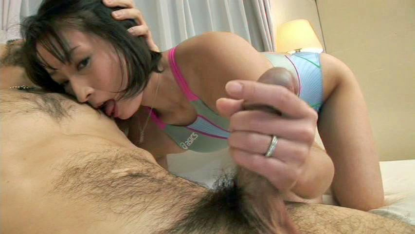 Handjob with nipple stimulation