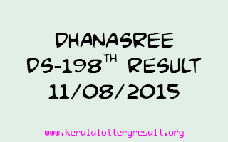 DHANASREE DS 198 Lottery Result 11-8-2015
