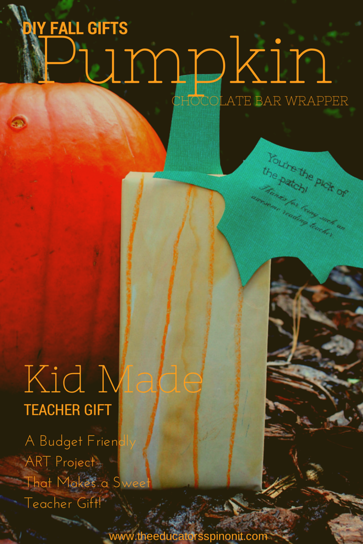 Water Color Pumpkin Chocolate Bar Wrapper. A kid-made gift for teachers. Budget friendly sweet treat!