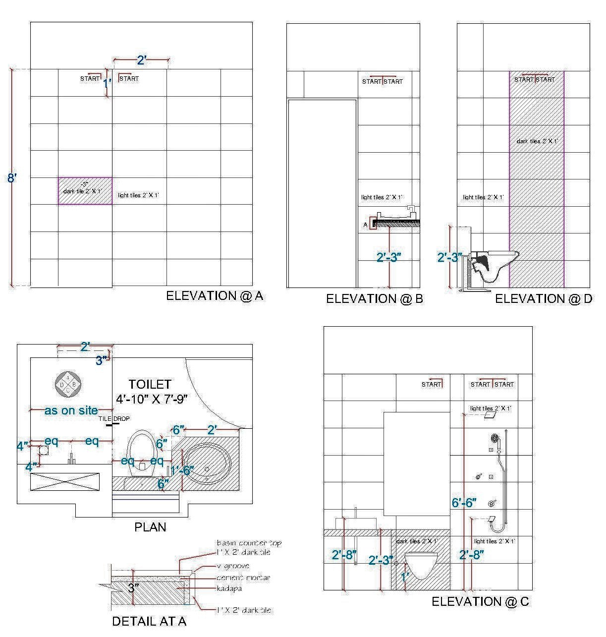 Toilet Elevation Plan : Interior designing portfolio april