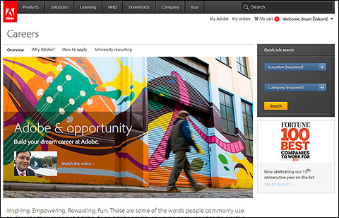 Apply for job through Adobe Career opportunities