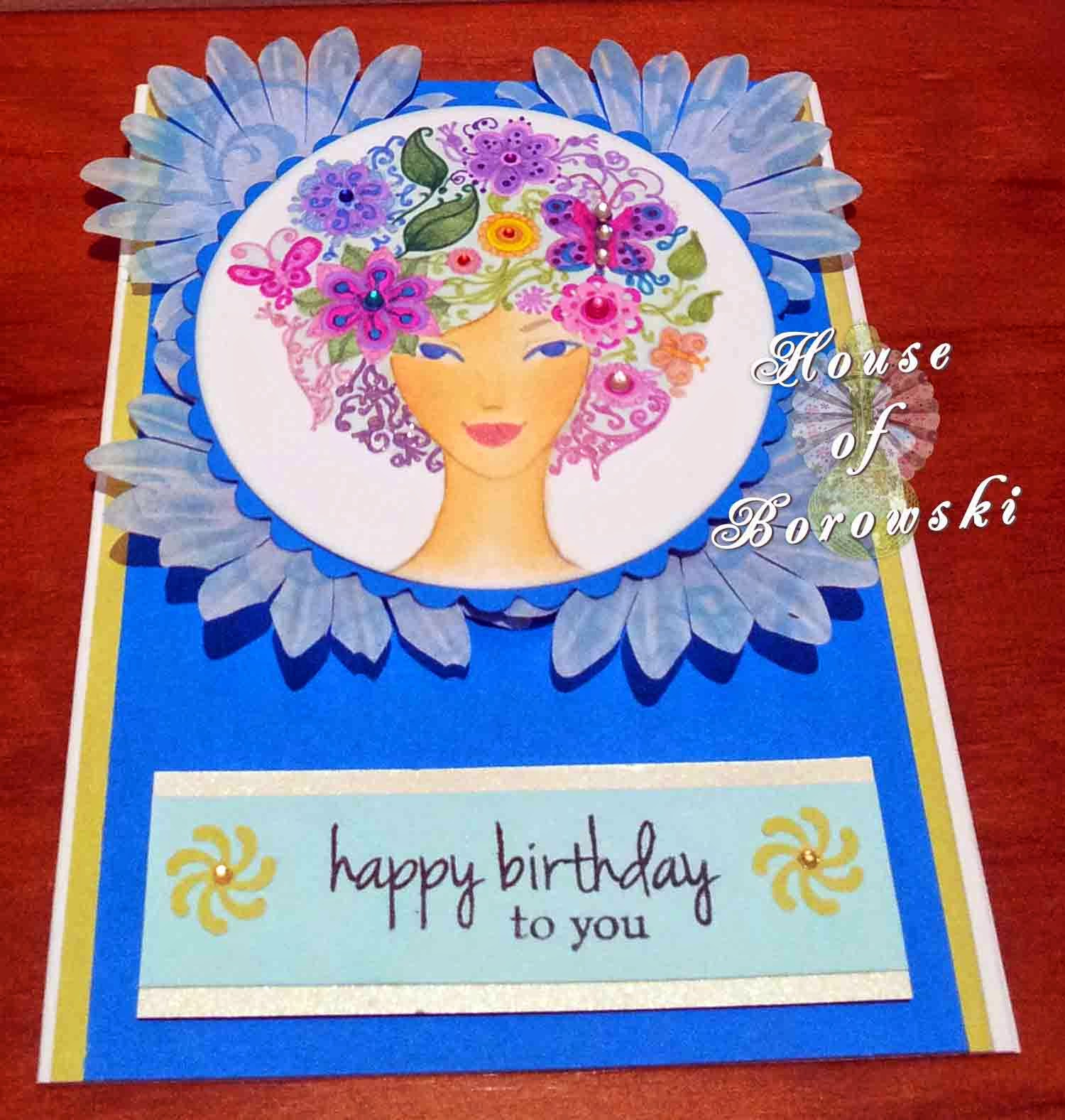 HOB, Copics, Kaszazz Flowers. Gina K Hello Sunshine, Spellinders Classic Circle Large, Spellbinders Petite Scalloped Large