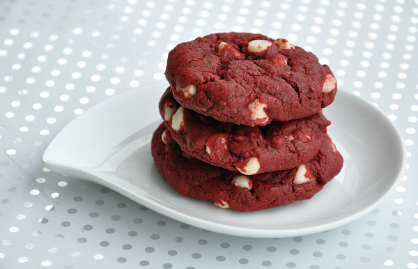 red velvet cake cookies with white chocolate and applesauce