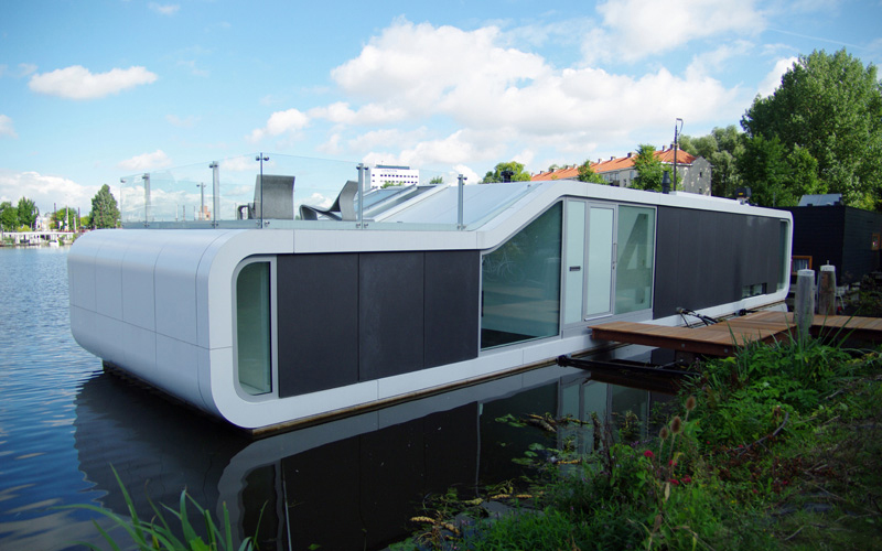 Inside And Out Of Amsterdams Modern Houseboat The Watervilla De - Modern custom houseboat graphics