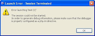 Error launching 'test'. The session could not be started. In order to generate debug information, please make sure that the debugger is properly configured as a php.ini directive.