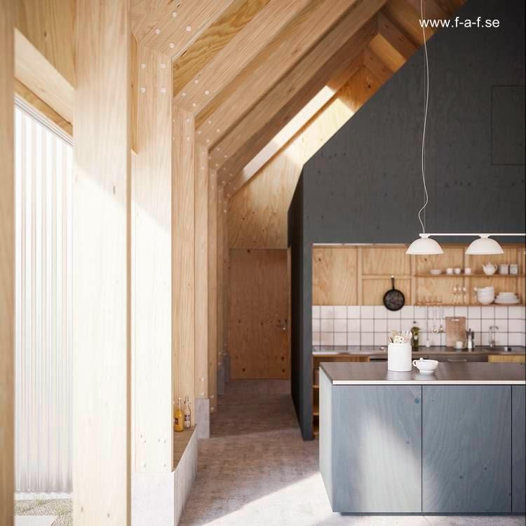 Vista del interior del primer volumen en la cocina