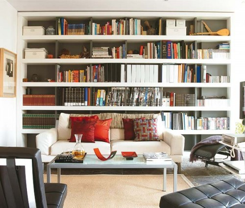 C mo organizar una biblioteca en el living room sala de - Librerias de salon ...