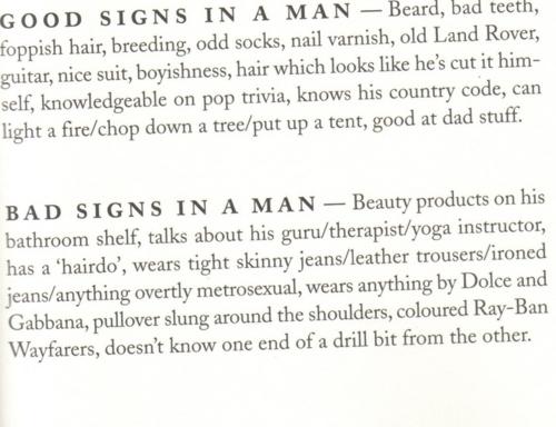 Signs of good man