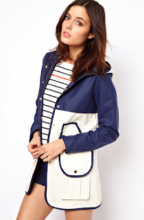 ASOS, Caroline Flack, Coat, Colour Block, Contrast, Fasten Detail, Hooded, Mac, Navy Blue, Piping, Pocket Detail, White