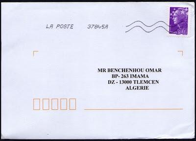 exemple de lettre a poster l'enveloppe 1er jour, plus qu'un timbre: Nouvelle lettre de France  exemple de lettre a poster