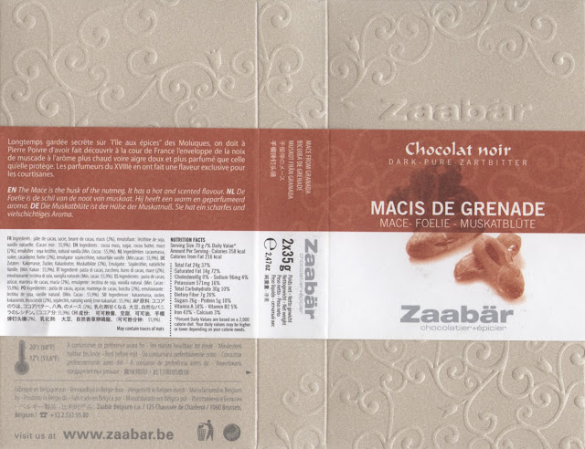 tablette de chocolat noir gourmand zaabär noir macis de grenade