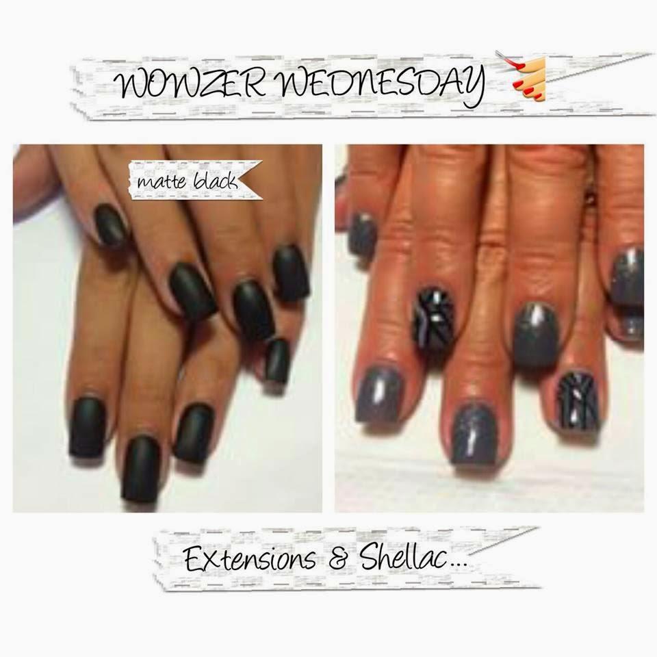 Shellac, acrylic, nail art, foils matte black lady swagg