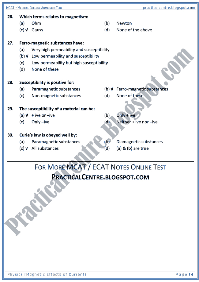 mcat-physics-magnetic-effects-of-current-mcqs-for-medical-college-admission-test