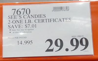 Deal for See's Candies Gift Certificates good for 2 1-lbs of chocolates at Costco
