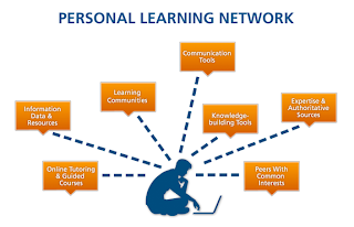 personal learning network depicted in chart form. silioute of a man sitting in front of a laptop with keywords of PLN surrounding him