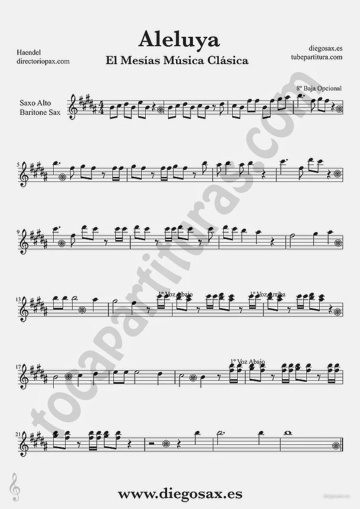 Tocapartitura Aleluya de Haendel partitura de Saxofón Alto y Saxofón Barítono El Mesias