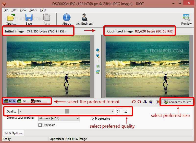 how to compress an image with irfanview