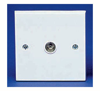 The BG 960B Square Edge - Co-Axial Socket Outlet Non-Isolated White Plastic