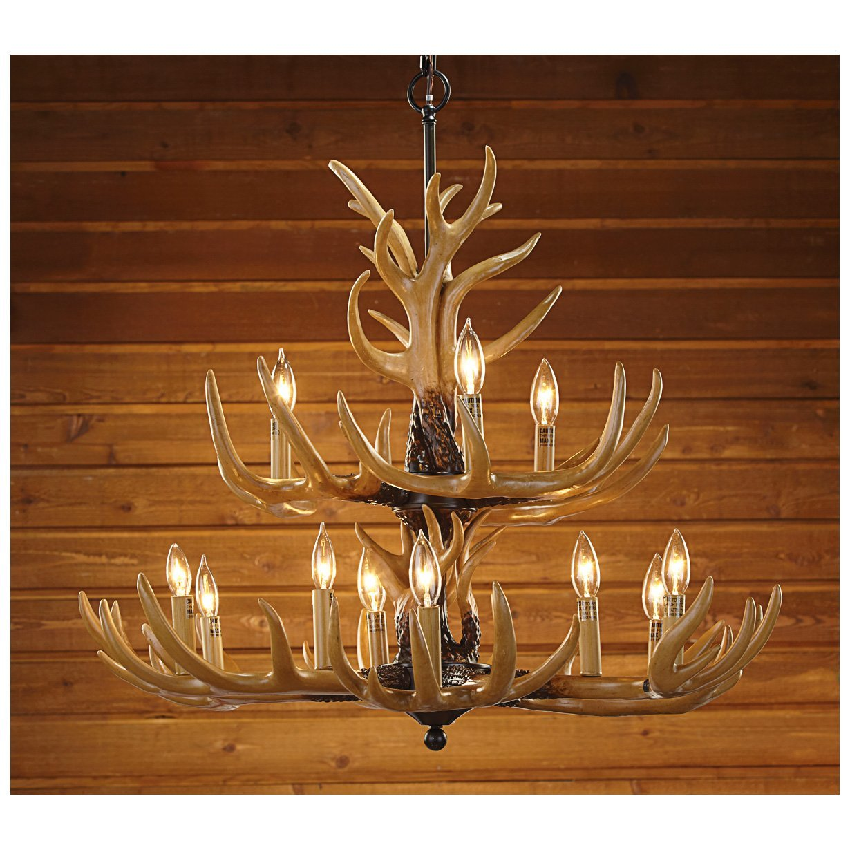 Deer antler light fixtures fabulous antler replica lighting options aloadofball Image collections