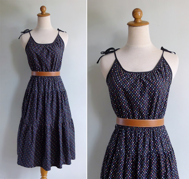 vintage 80's colorful polka dot sun dress