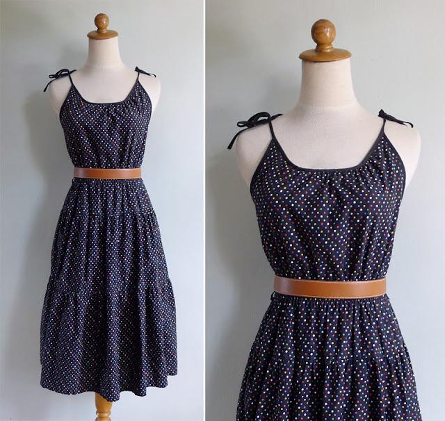 vintage 80's colorful polka dot sun dress