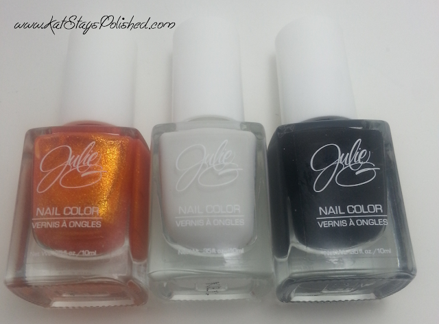 JulieG Nail Color: Beach Bonfire | White Orchid | Black Sheep